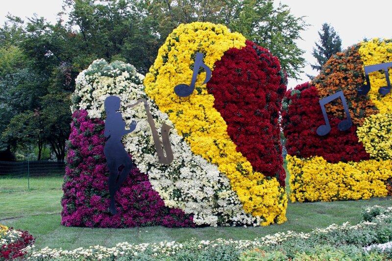 Инсталляция из хризантем Осенний блюз
