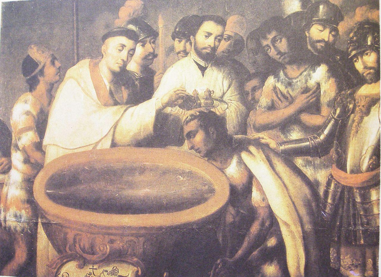 Крещение ацтекских аристократов. Картина неизвестного художника XVI или XVII века.JPG
