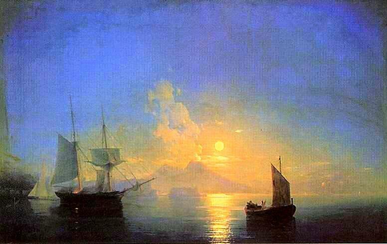 Неаполитанский залив в лунную ночь, Айвазовский, живопись