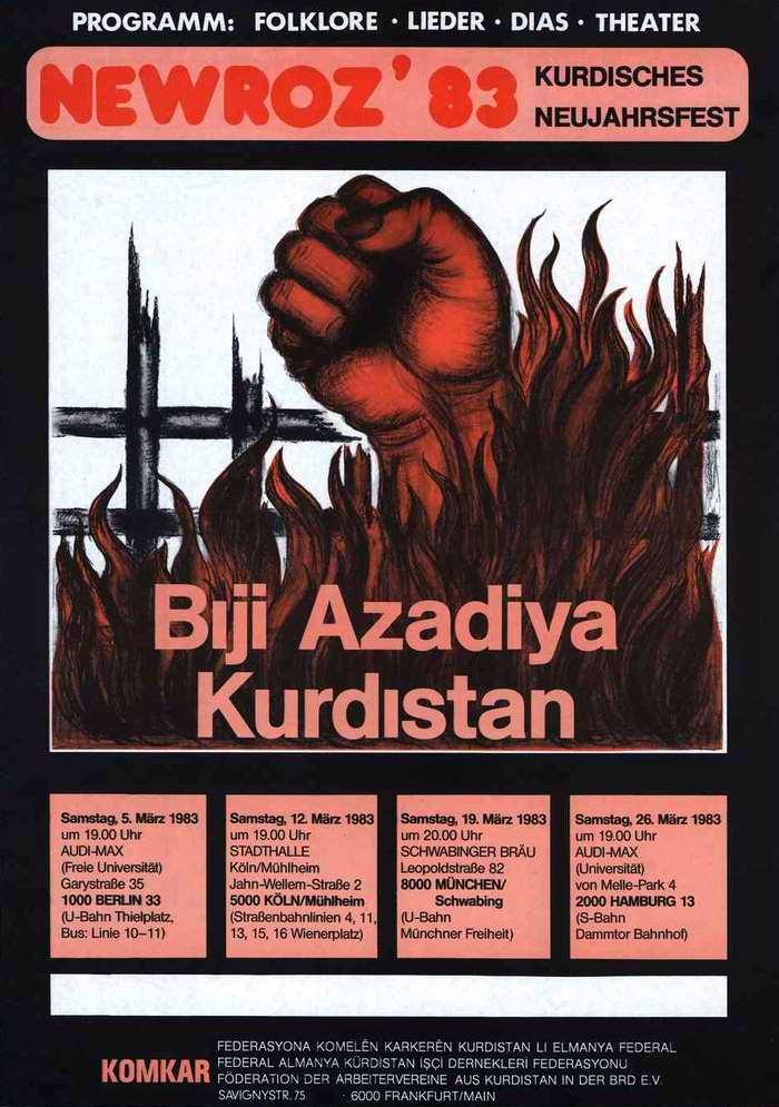 Навруз. Да здравствует курдский Новый год (1983 год) - Приглашение для посещения культурной программы в ряде городов Германии