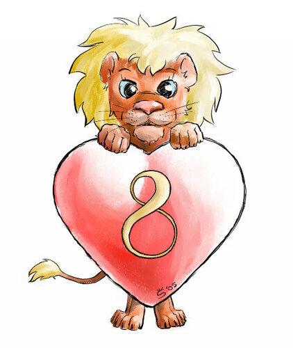8 Матра. Львенок с сердечком открытка поздравление картинка