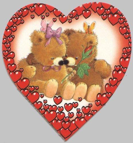 Медвежата в сердечке открытка поздравление картинка