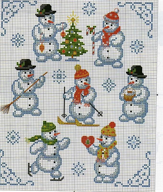 Схема новогодней вышивки крестом: миниатюры игрушек, маленький дед Мороз