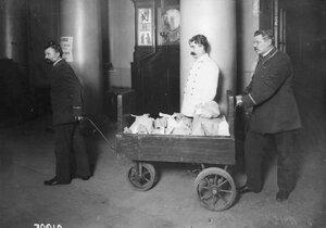 Перевозка золота, пожертвованного на нужды войны, в Государственном банке.