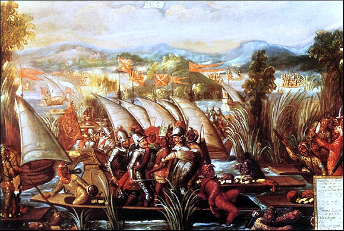 Пленение Куаутемока. Картина неизвестного художника, вторая половина XVII века.jpg