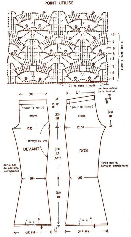 Вяжем брюки крючком схемы