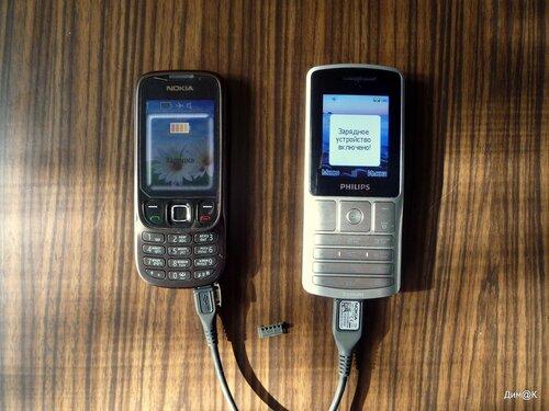 Philips X130 заряжает Нокию 6303i