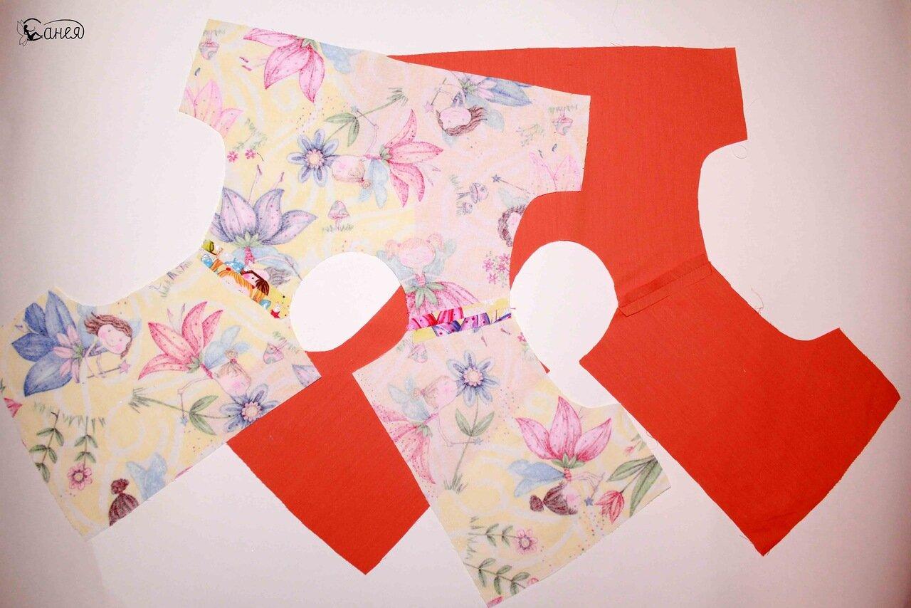 Превращаем футболку в модное яркое летнее платье для девочки! 40