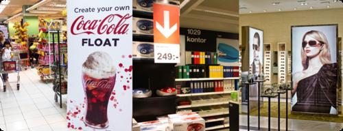 Подсветка рекламы в магазине