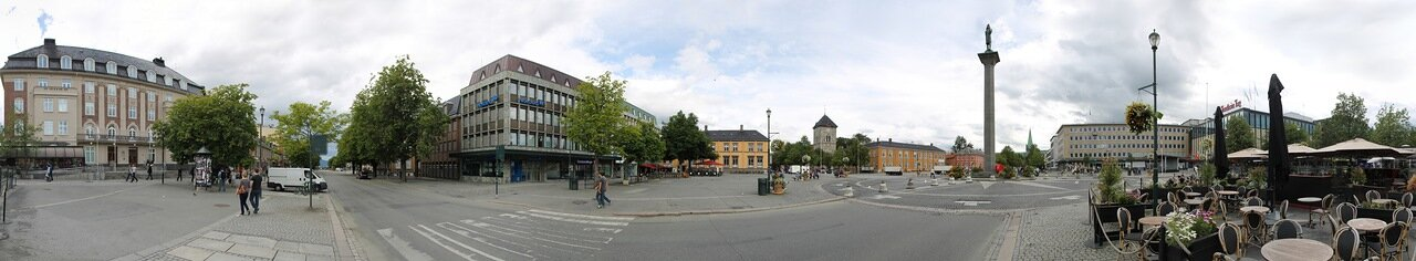 Trondheim, market square (Torvet) panorama