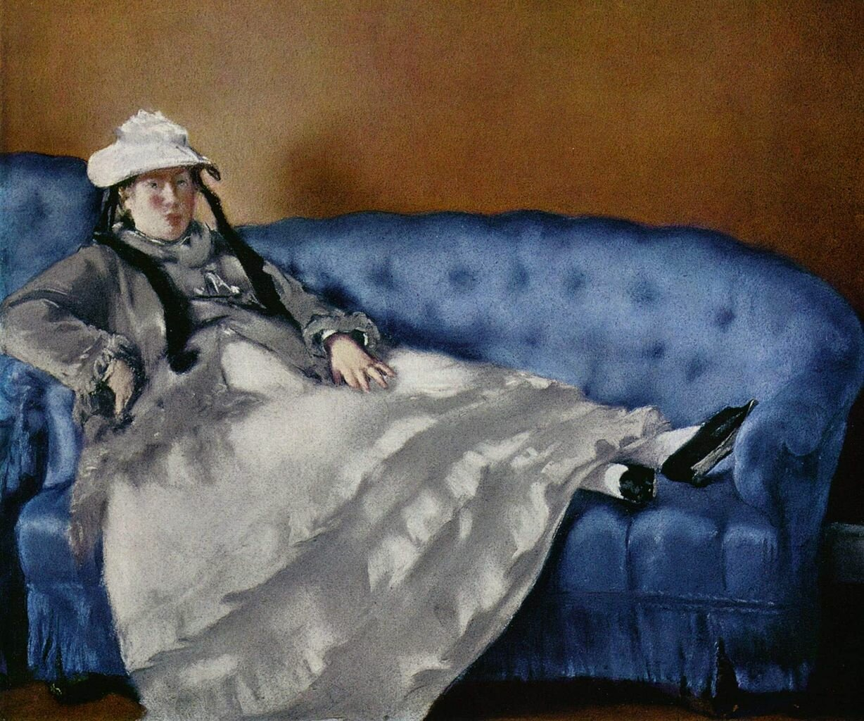 Мадам Мане (Сюзанна Леенхоф) на голубом диване, ок. 1880._Мане Эдуард (1832-1883);  Лувр, Париж.