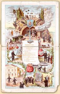 Меню товарищеского обеда 11 декабря 1886 г. чинов железнодорожного отдела государственного контроля.