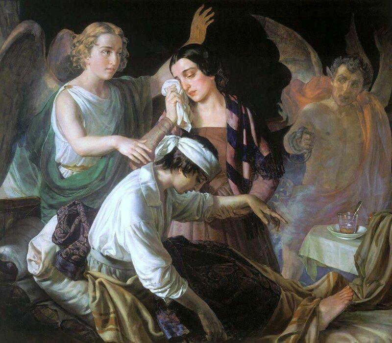 «Ангел, попирающий злого духа в борьбе за душу», Алексей Тыранов, живопись