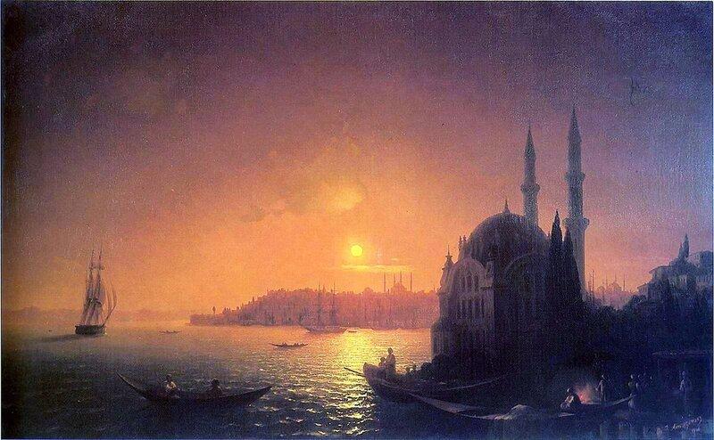 Вид Константинополя при лунном освещении, Айвазовский Иван Константинович, живопись