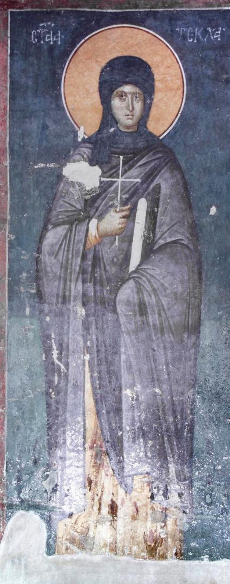 Первомученица равноапостольная Фекла. Фреска монастыря Грачаница, Косово, Сербия. Около 1321 года.