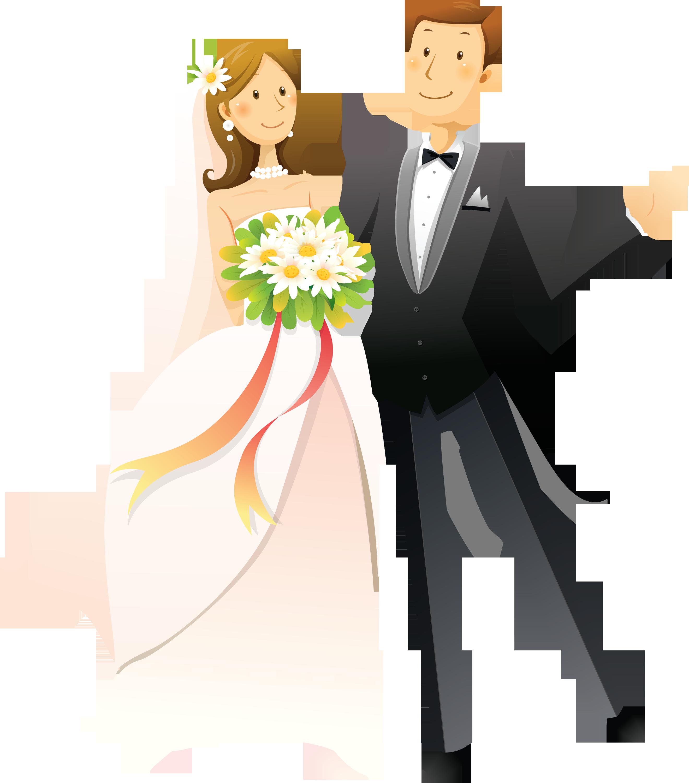 Клипарт жених и невеста на прозрачном фоне