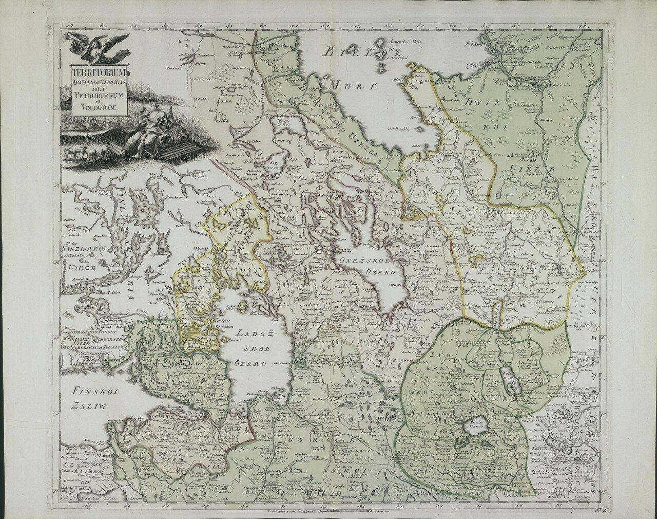 1745. Карта Архангельской губернии с частями Петербургской и Вологодской губерний