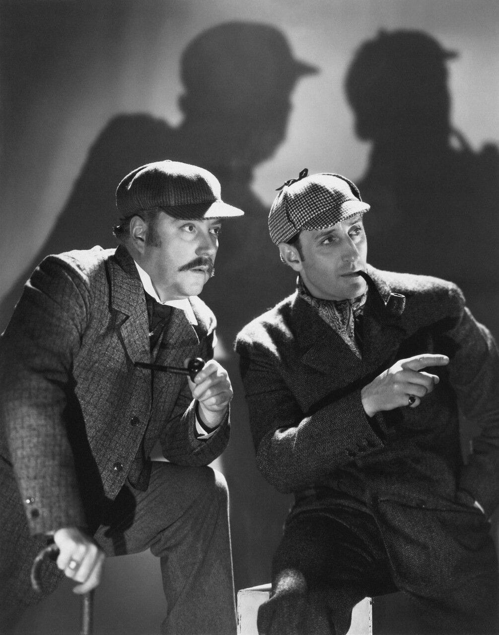 Бэзил Рэтбоун и Найджел Брюс. Рекламная фотография к «Шерлоку Холмсу»