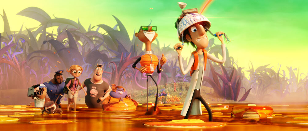 Manny (Benjamin Bratt), Earl (Terry Crews), Sam (Anna Faris), Brent (Andy Samberg), Barb (Kristen Schaal), Chester V (Will Forte), and Flint (Bill Hader) in Sony Pictures Animation's CLOUDY WITH A CHANCE OF MEATBALLS 2.