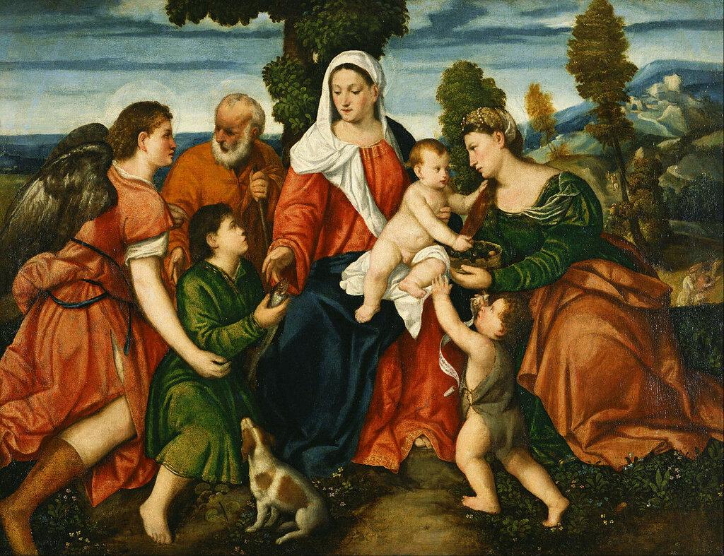 Bonifacio_de'_Pitati_-_The_Holy_Family_with_Tobias_and_the_Angel,_Saint_Dorothy,_Giovannino,_and_the_Miracle_of_the_Corn_be____-_Google_Art_Project.jpg