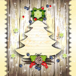 Christmas tree card with pine cone and berries
