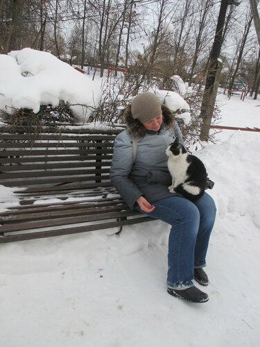 Кошка фотографируется с туристкой