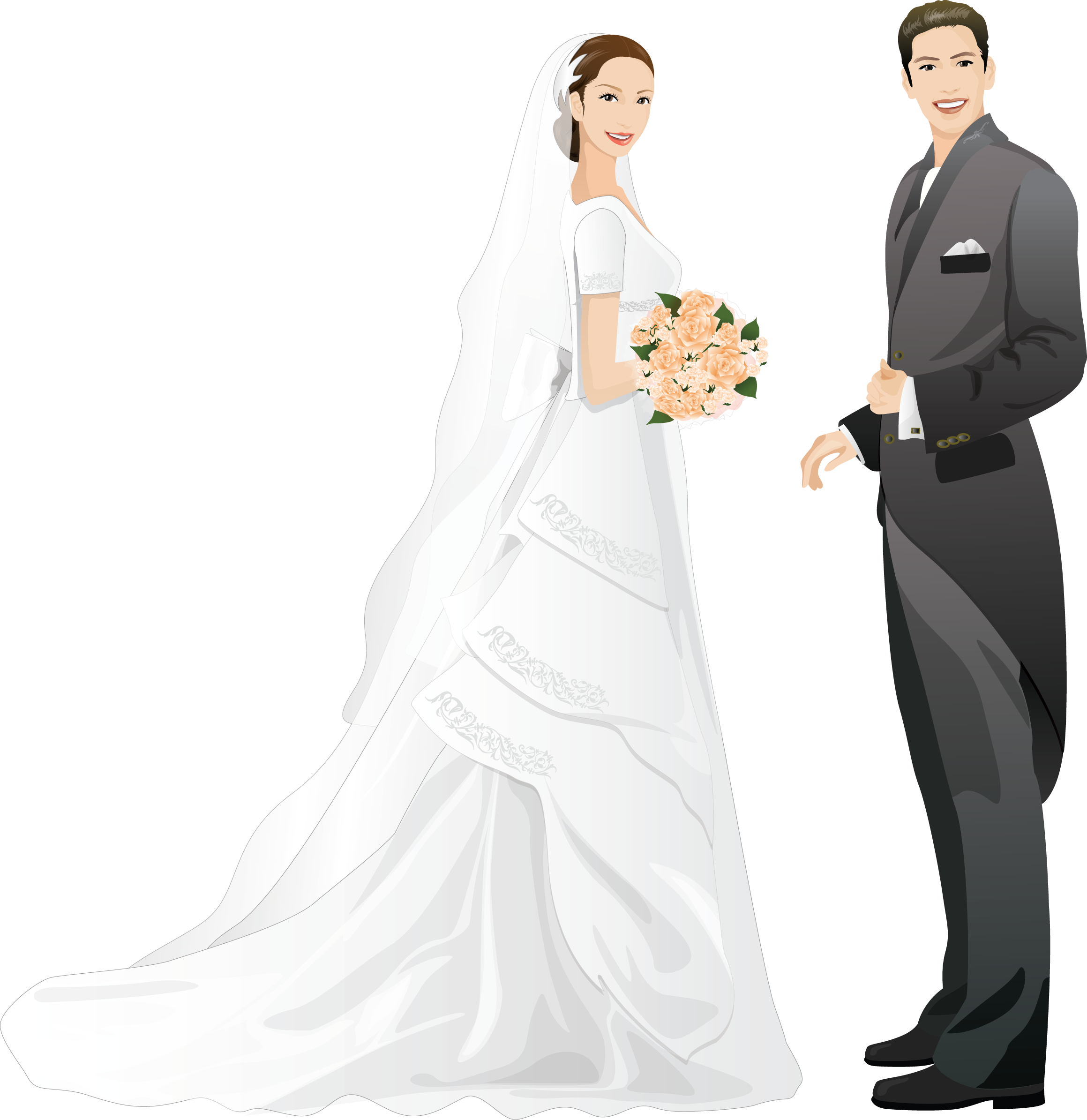 Векторные свадебные картинки, поздравлением для дочери