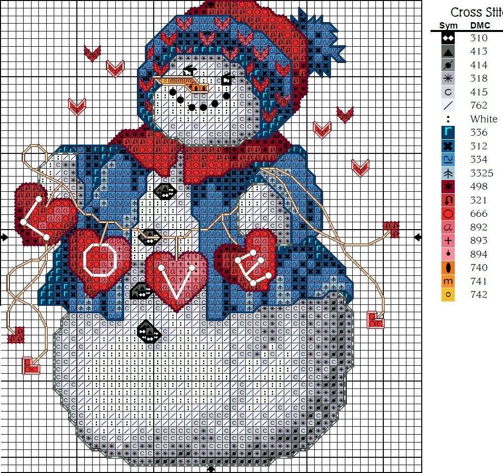 девочка и снеговик - схема вышивки.