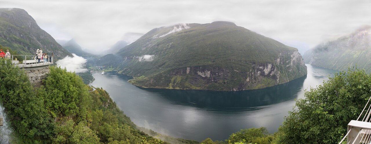 Geirangerfjord view from the Ørnesvingen observation desk, panorama