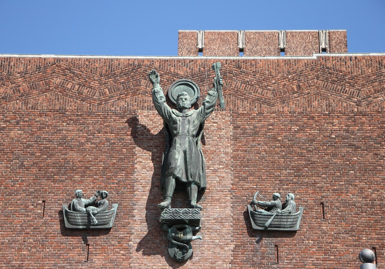 Oslo, Rathaus Square, Rathaus. Осло, Ратушная площадь, Ратуша