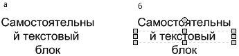 Рис. 5.5. Размер надписи может оказаться недостаточно большим для правильного размещения текста: а — надпись с некорректным переносом символов; б — выделив объект, вы сможете определить установленные для него размеры