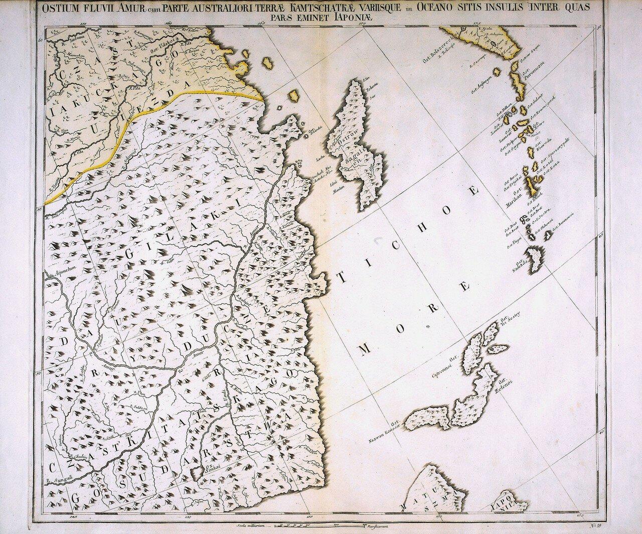 1745. Южная часть реки Амур, Камчатка и различные острова в океане, частично включающие в себя и японскую территорию
