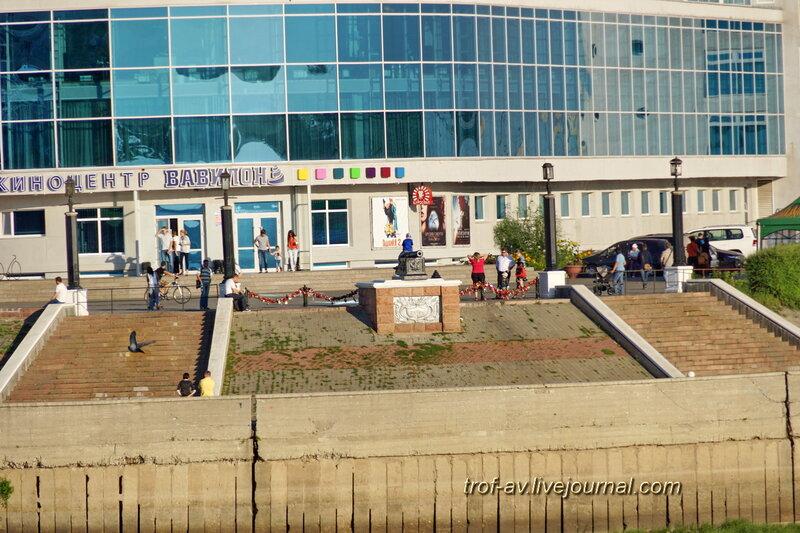 Памятник ппушка, приблизительное место высадки отряда Бухгольца (вид с противоположного берега), Омск