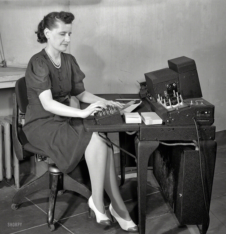 June 1942. Washington, D.C. U.S. Office of Defense Transportation system of port control and its traffic channel control. More antique IBM punch-card equipment