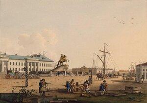 Сенатская площадь и «Конная статуя Петра I, с окружающими».1799