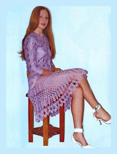 Схема вязания крючком юбки.