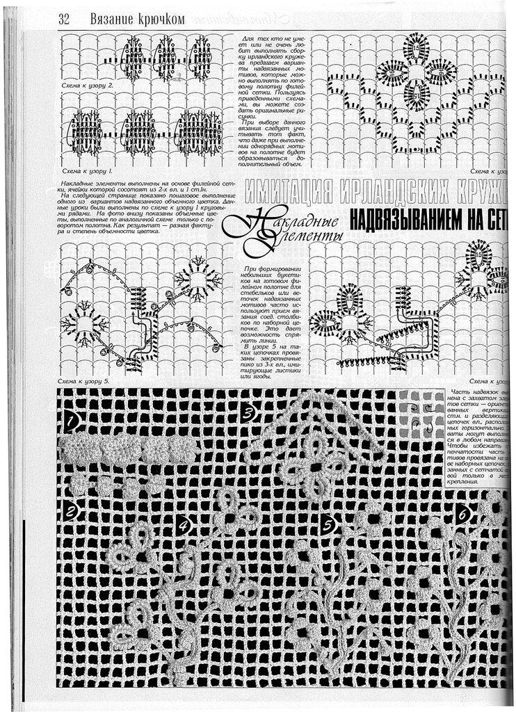 Узоры для вязания крючком по филейной сетке 142