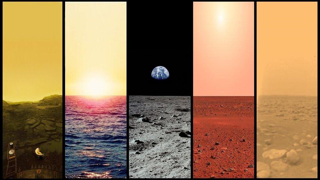 Венера, Земля, Луна, Марс, Титан