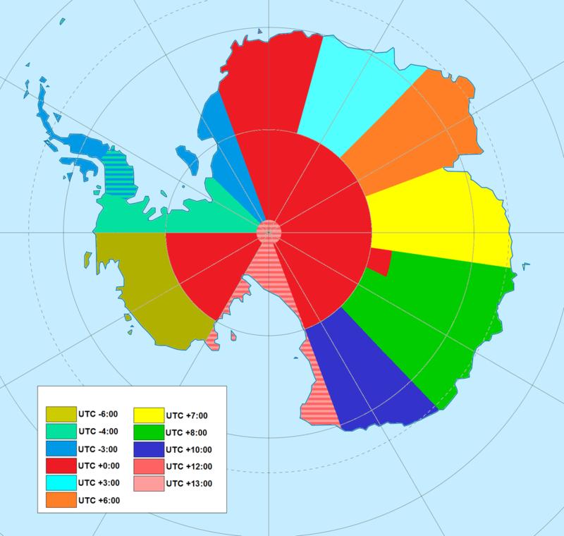 Часовые пояса в Антарктиде