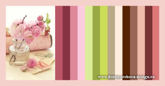 цветовая палитра для дизайна. розовые, салатовые, шоколадные тона