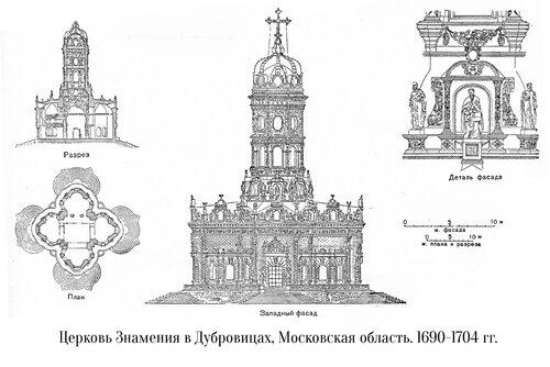 Знаменская церковь в Дубровицах, чертежи