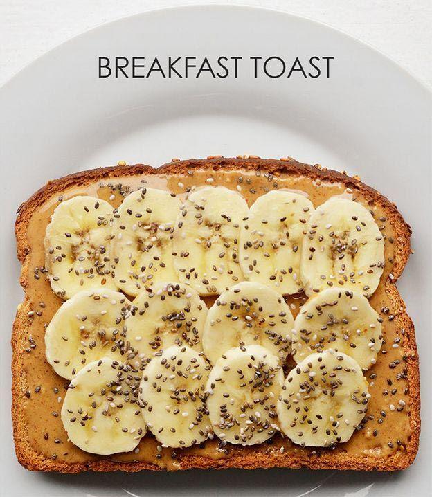 4. Банан + арахисовое масло + семена чиа