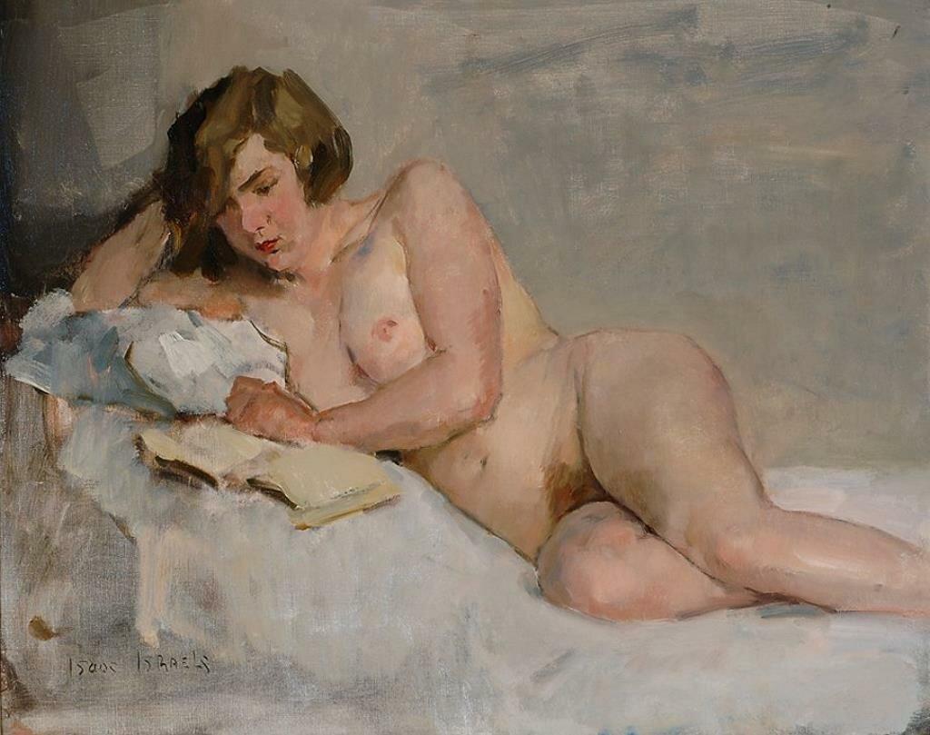 Обнажённая, читающая в постели,_ок. 1900, Исаак Исраэлс (1865-1934)