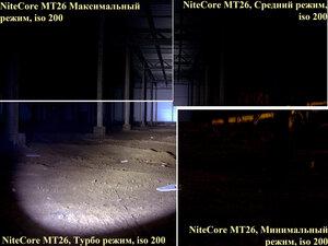 Яркий тактический фонарь NiteCore mt26. Все режимы, iso 200