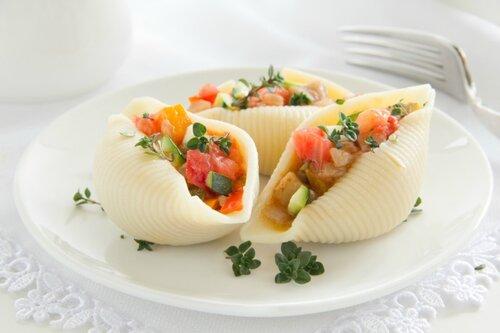 Vegetable ratatouille in pasta shells.