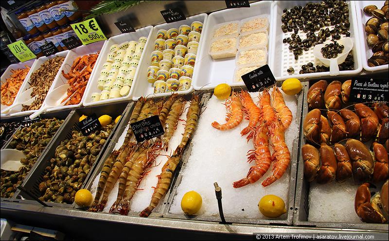 Прилавок с морепродуктами