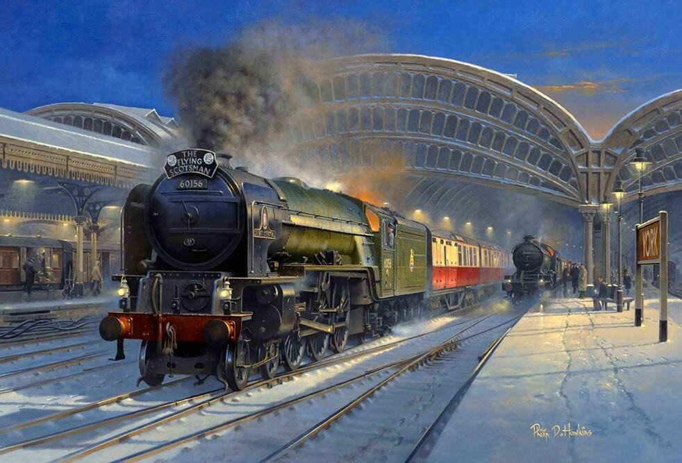 Philip D. Hawkins - Winter Scotsman - York during the 50s with A1 Pacific No.60156 'Great Central' carefully passing through.