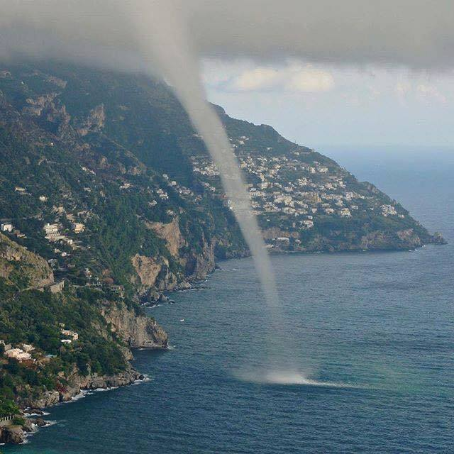 Here is a shot of a water spout that has affected the coast of Positano