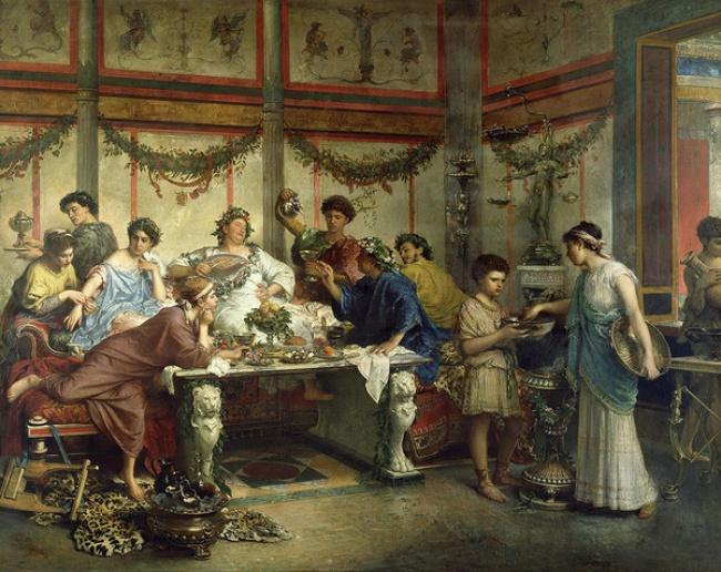 © Римский пир, 1875. Роберто Бомпиани  Римляне настолько любили переизбыток вовсем, что даже