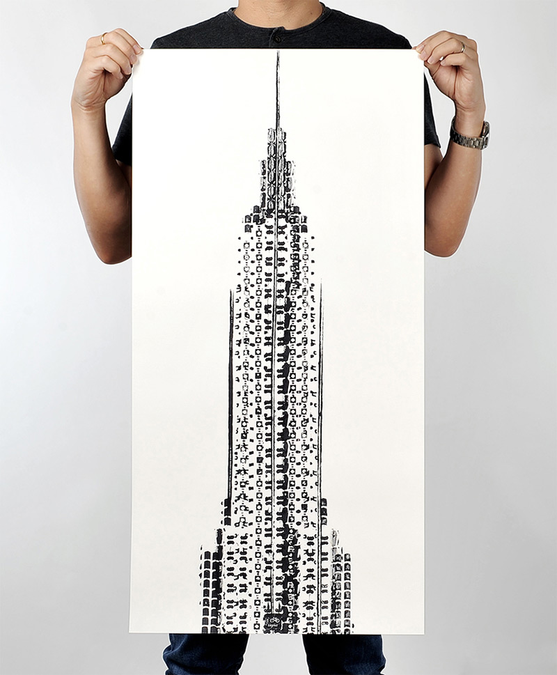 The Cyclist's Empire: A New Print of the Empire State Building Made from Bicycle Tracks (4 pics)